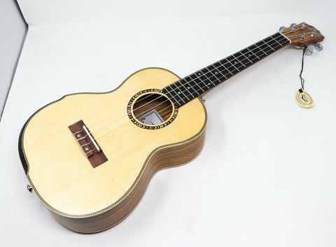 "Larry's Ukulele LBS Series 26"" Tenor Solid Spruce Top With Soft Bag [Zebra Wood]"