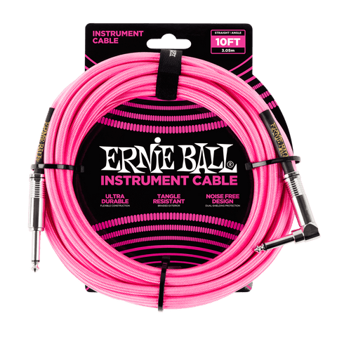 10ft Braided Straight Angle Inst Cable Neon Pink