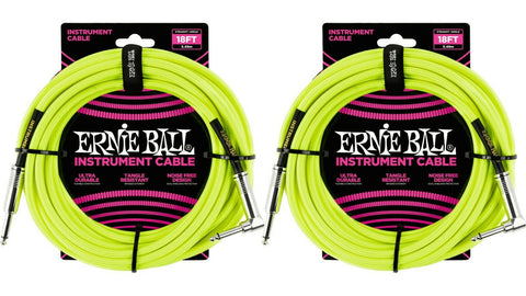 Ernie Ball 18ft Braided Straight Angle Inst Cable Neon Yellow 2 Pack