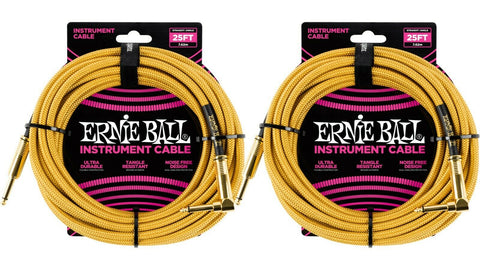 Ernie Ball 25ft Braided Straight Angle Inst Cable Gold Gold 2 Pack