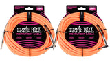 25ft Braided Straight Angle Inst Cable Neon Orange