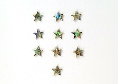 Set of 10 Real Abalone Pre-cut Star Inlay for Custom Guitar - 7mm Diameter