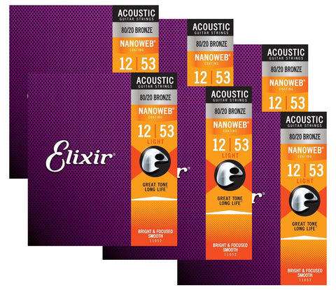 Elixir Strings 11052 Nanoweb 80/20 Acoustic Guitar Strings - .012-.053 Light 6 Pack