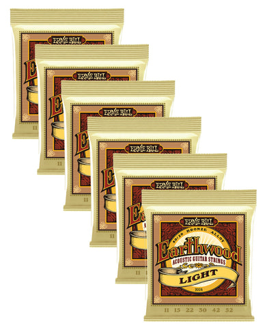 Ernie Ball Earthwood Light 80/20 Bronze Acoustic Guitar Strings - 11-52 Gauge 6 Pack