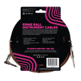 Ernie Ball 25ft Braided Straight Angle Inst Cable Black Orange 2 Pack
