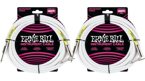 Ernie Ball 20ft Straight Angle Inst Cable White 2 Pack