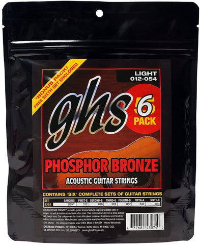 GHS S325 Phosphor Bronze Light Acoustic Guitar Strings 6-Pack