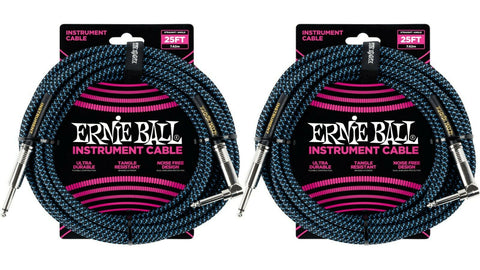 Ernie Ball 25ft Braided Straight Angle Inst Cable Black Blue 2 Pack