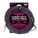 Ernie Ball 25ft Braided Straight Angle Inst Cable Black Red Blue White 2 Pack