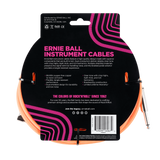 Ernie Ball 25ft Braided Straight Angle Inst Cable Neon Orange 2 Pack