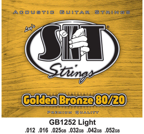SIT GB1252 Golden Bronze 80/20 Brass Acoustic Guitar Strings - Light (12-52)