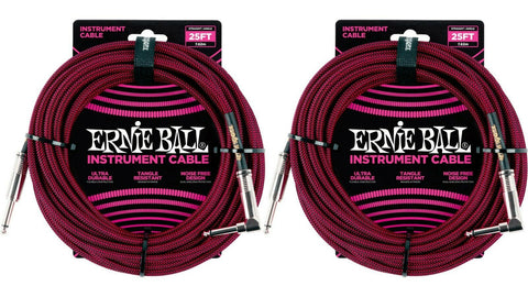 Ernie Ball 25ft Braided Straight Angle Inst Cable Black Red 2 Pack