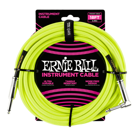 18ft Braided Straight Angle Inst Cable Neon Yellow