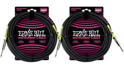 Ernie Ball 20ft Straight Straight Inst Cable Black 2 Pack