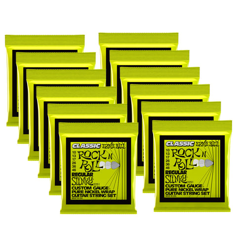 Ernie Ball Regular Slinky Classic Rock n Roll Pure Nickel Wrap Electric Guitar Strings - 10-46 Gauge 12 Pack