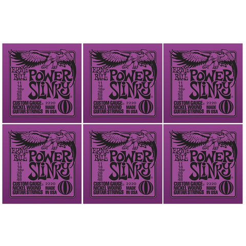 Ernie Ball Power Slinky Nickel Wound Electric Guitar Strings 11-48 Gauge 6 Pack