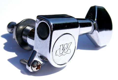 Wilkinson Chrome Flat Sided Mini Button 6 Line Reverse Tuning Pegs