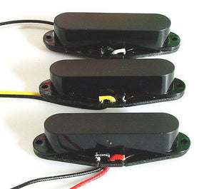 Artec Alnico 5 Single Coil Strat Pickup Set Black Closed Cover
