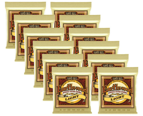 Ernie Ball Earthwood Light 80/20 Bronze Acoustic Guitar Strings - 11-52 Gauge 12 Pack