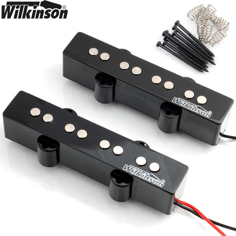 Wilkinson MWJB Neck & Bridge Set Pickups for 4-String Jazz Bass - Black