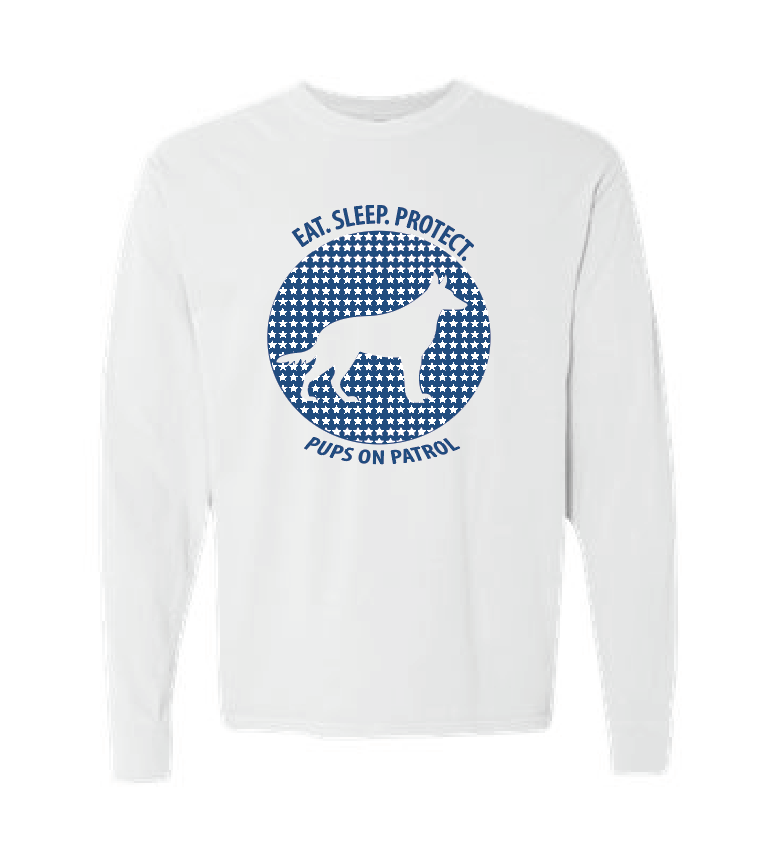 PUPS ON PATROL LONG SLEEVE T-SHIRT - White