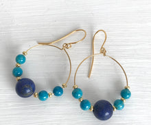 Load image into Gallery viewer, Lapis Lazuli and turquoise hoops - alisonwalshjewellery