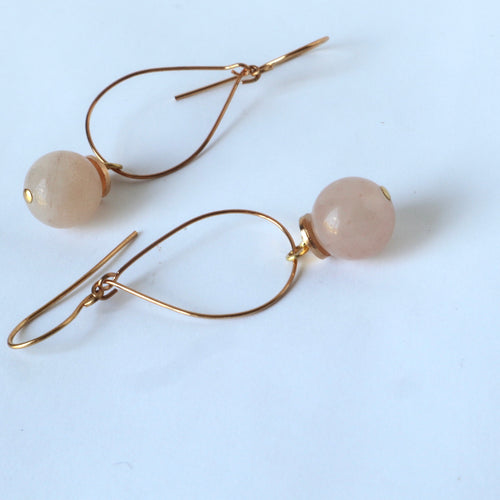 Gold teardrop peach Quartz handmade Irish earrings