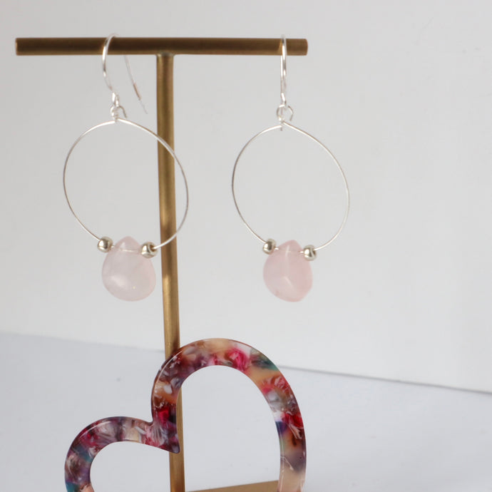 Rosequartz silver hoop earrings