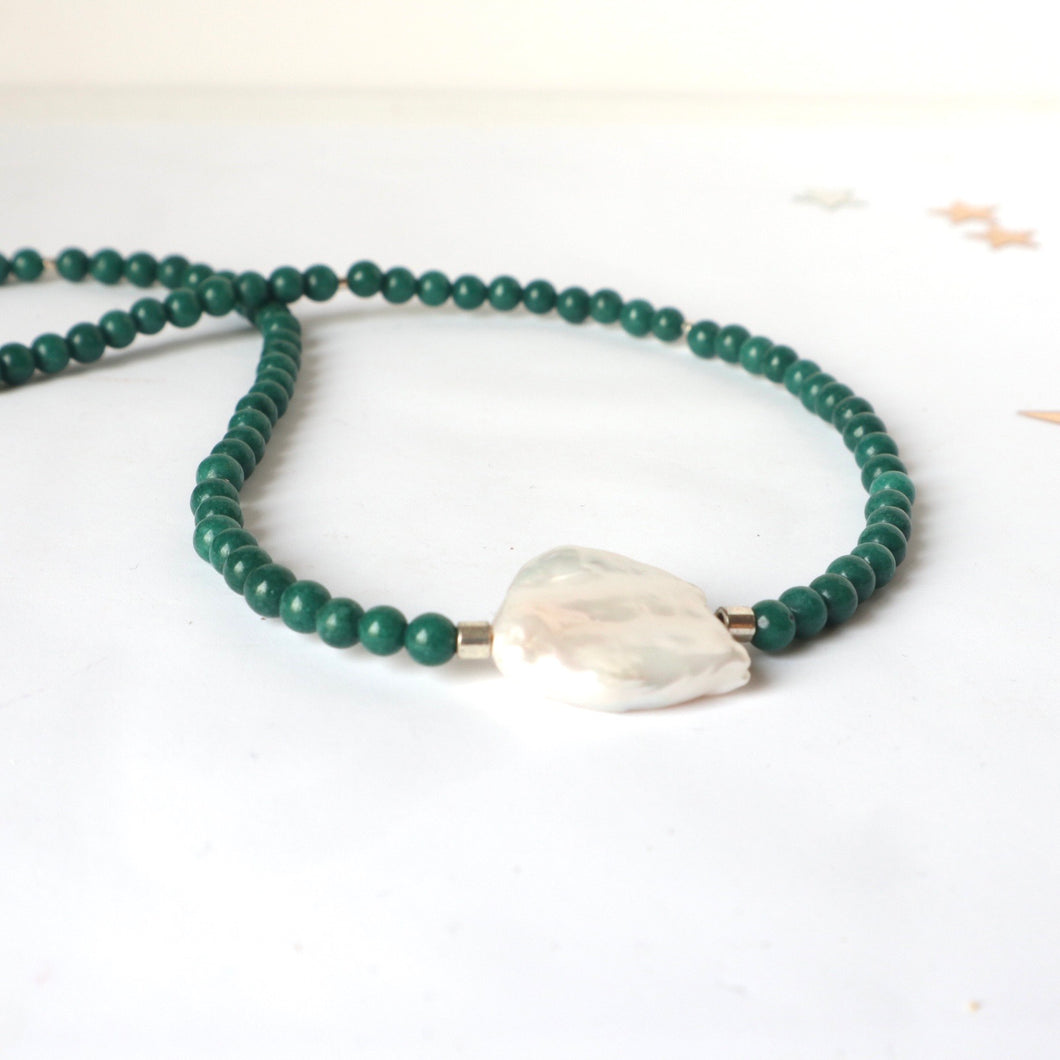 pearl and jade handmade irish necklace