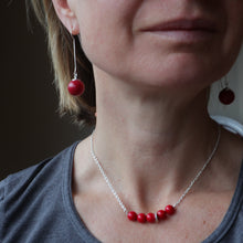 Load image into Gallery viewer, red coral silver handmade irish necklace