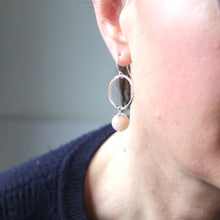 Load image into Gallery viewer, Peach Aventurine Silver Hoop Earrings