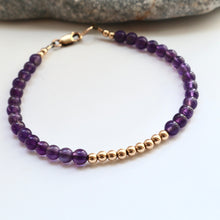 Load image into Gallery viewer, Amythest and gold layering bracelet handmade in kerry