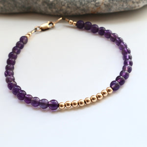 Amythest and gold layering bracelet handmade in kerry