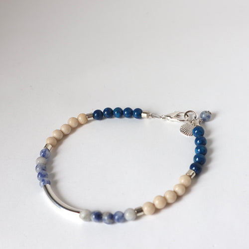 Blue / Natural Silver Bar Bracelet