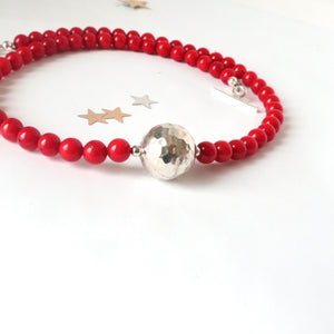 red coral sterling dilver handmade irish necklace