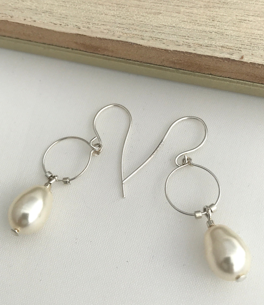 Silver Pearl Hoop Earrings - alisonwalshjewellery