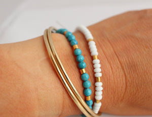 handmade white beaded bracelet ib ireland by alison walsh jewellery
