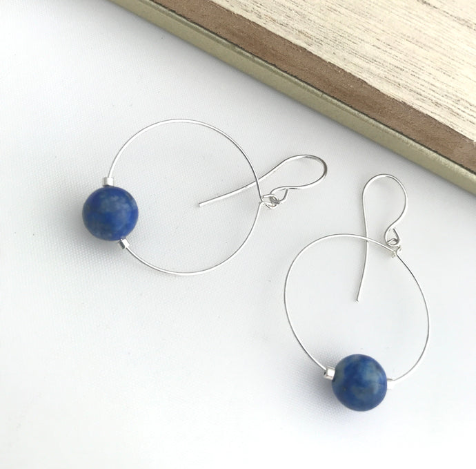 Lapis Lazuli Silver Hoop Earrings - alisonwalshjewellery