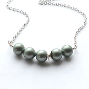 Olive Green Pearl Necklace - alisonwalshjewellery