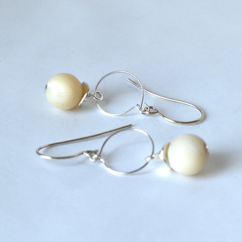 Mother of Pearl Small Hoop Earrings