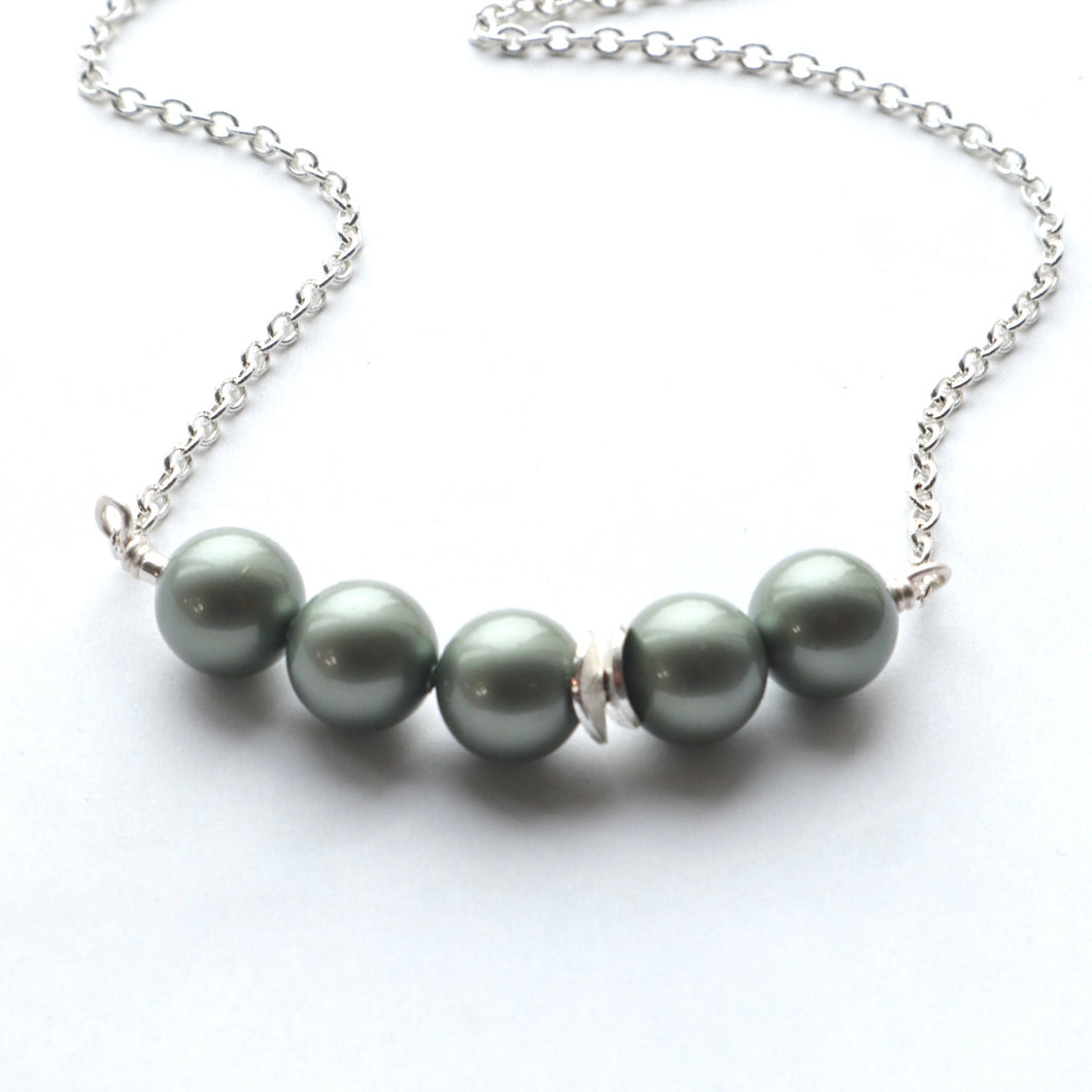 Olive Green Pearl Necklace