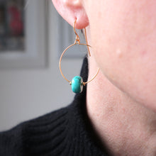 Load image into Gallery viewer, Turquoise Barrel Gold Hoop Earrings