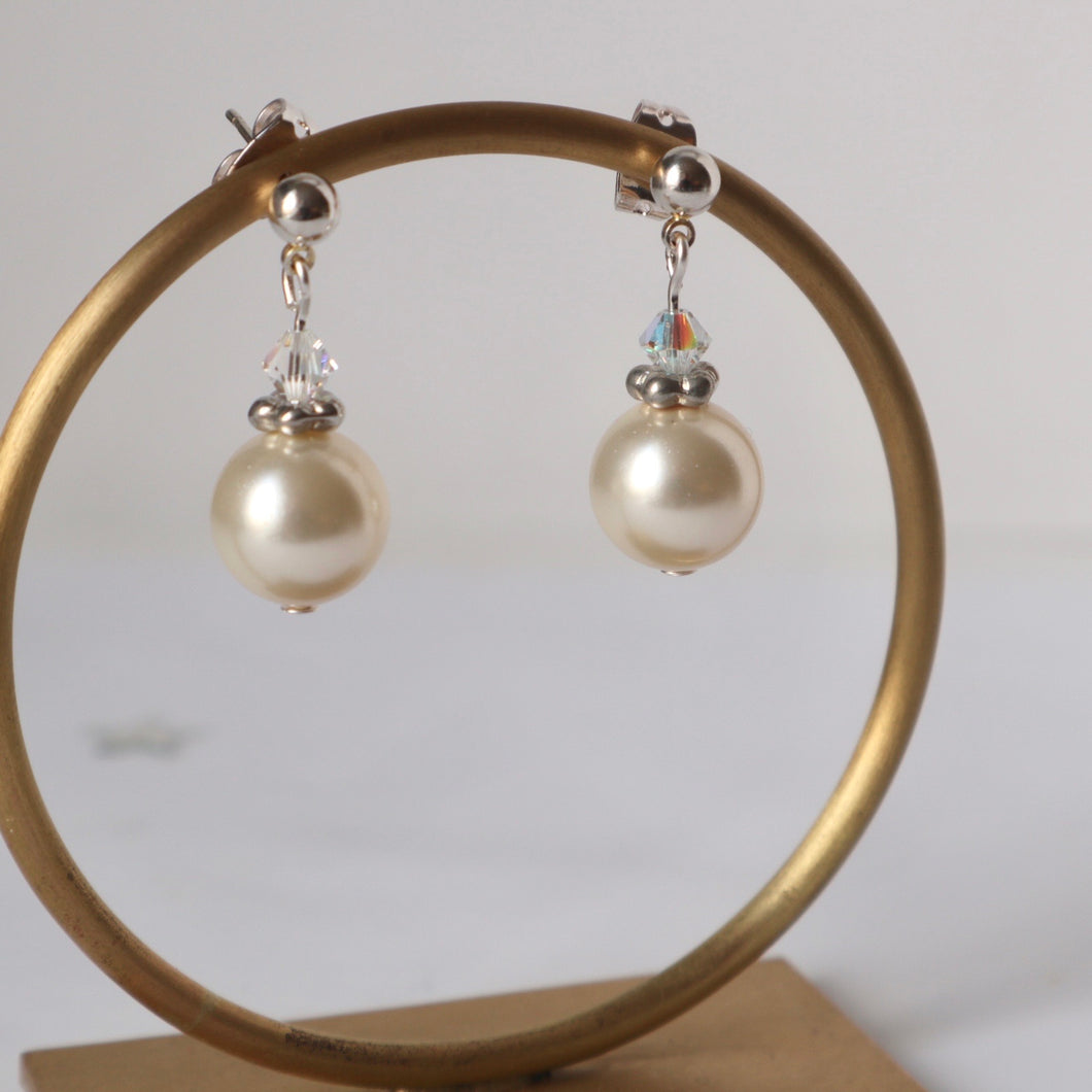 ivory pearl handmade irish bridal earrings