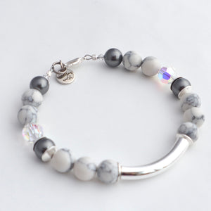silver and grey pearl bracelet handmade in ireland