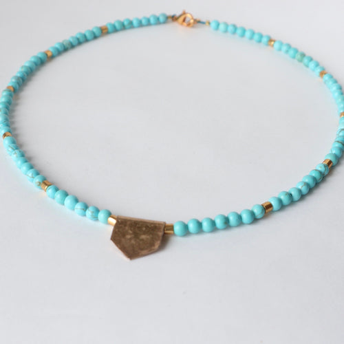 hammered brass turquoise handmade irish necklace