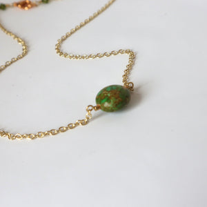 green mosaic gemstone handmade irish necklace