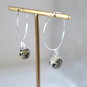 dalmation jasper silver hoop handmade irish earrings
