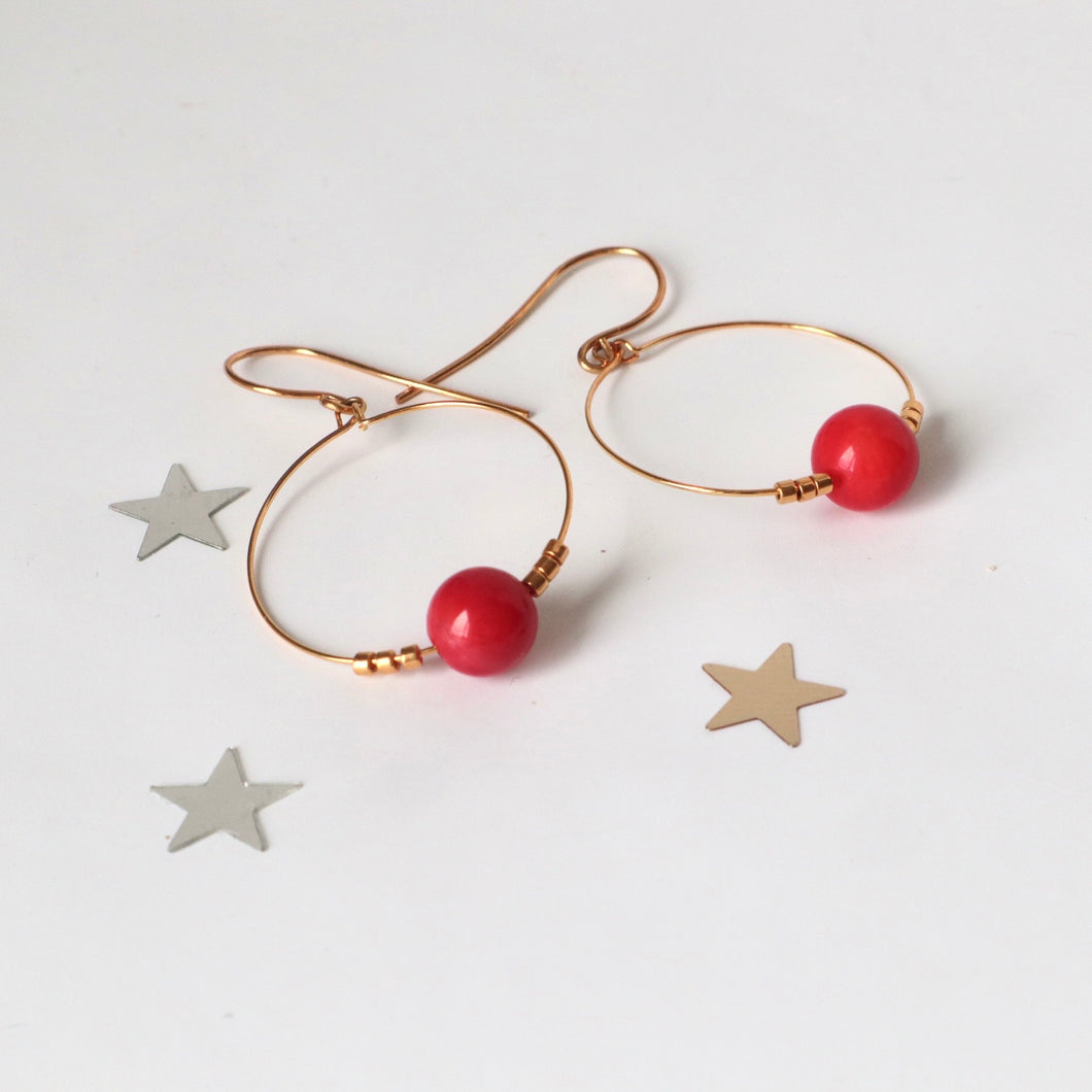 red coral gold hoops made in ireland