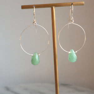 aventurine gemstone silver handmade irish earrings