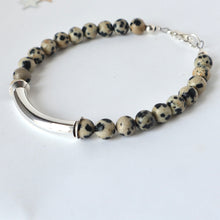 Load image into Gallery viewer, silver bar dalmatian jasper bracelet